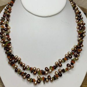 925 Gemstone Chip and Bronze Pearl Double Necklace